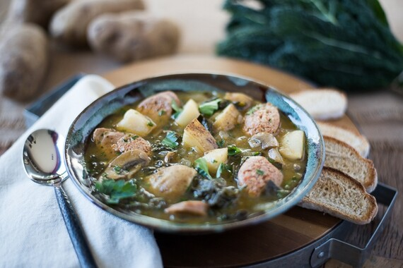 Spicy Idaho® Potato Soup with Kale and Sausage