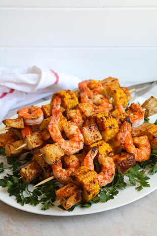 Grilled Cajun Shrimp and Potato Skewers
