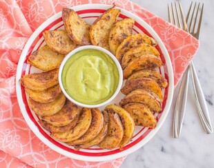 Chili Roasted Potatoes with Avocado Crema