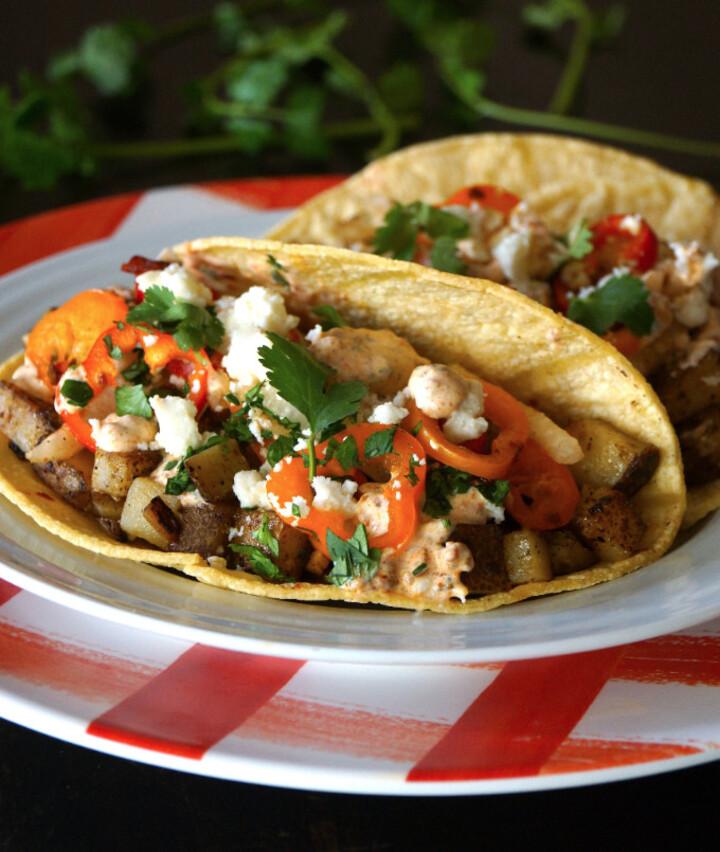 Tackling Tater Tacos with Honey Chipotle Slaw and Chorizo Crema
