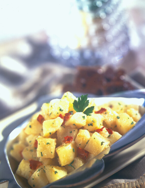 Warm Idaho® Potato Salad Served with Barbecue Short Ribs