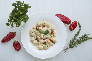 Idaho® Potato Gnocchi in Pimento Herb Cream Sauce