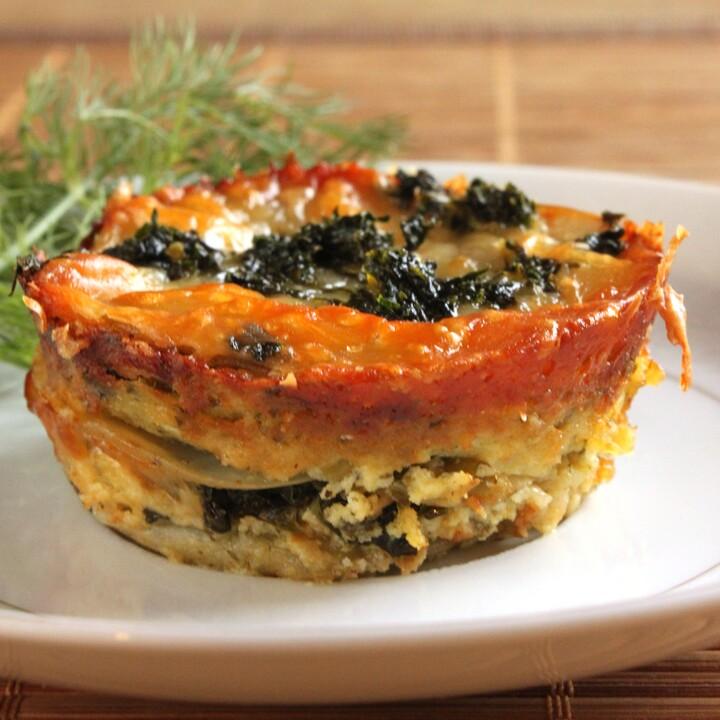 Idaho® Potato Mini Lasagnas with Pesto and Kale