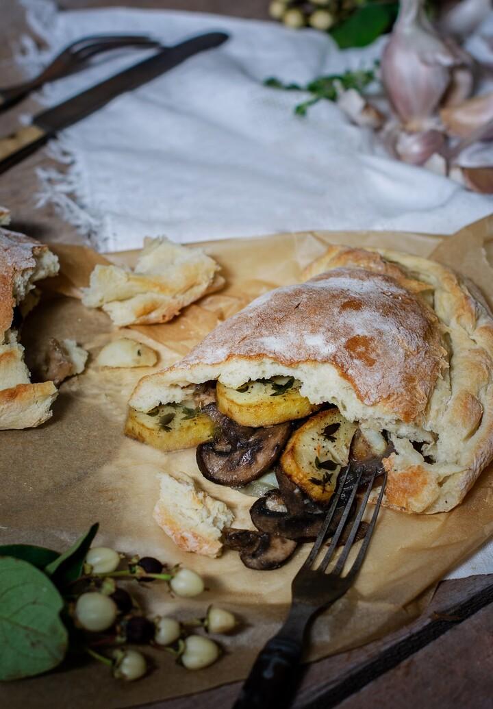 Vegan Wild Mushrooms, Roasted Garlic and Idaho® Potato Calzone