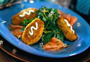 Herb Potato Fritters with Smoked Atlantic Salmon & Watercress