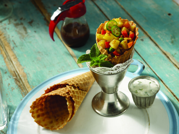 Savory Curry Cone with Samosa Potato Salad