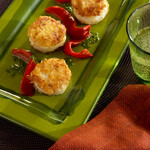 Idaho® Potato Crusted Weathervane Scallop with Roasted Piquillo Pepper and Herb Pistou