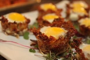 Idaho® Potato Hash Brown Baskets with Baked Quail Eggs