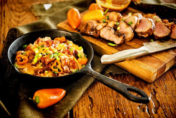 Refried Mashed Idaho® Potatoes with Pork Tenderloin