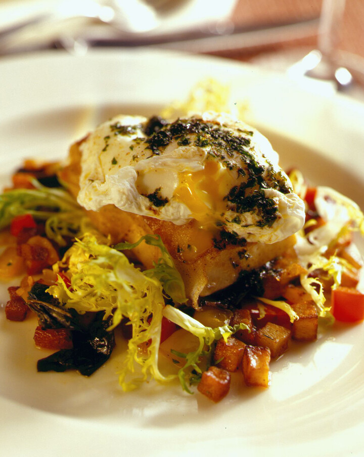 Halibut with a Potato Crust, Potato Smoked Bacon Hash and a Poached Egg, Parsley and Lemon Brown Butter