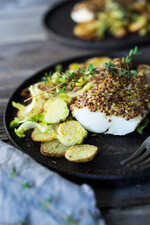 Mustard Roasted White Fish with Potato-Brussels Sprout Hash