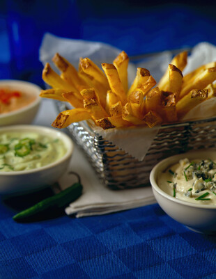 French Fries in Basket with Dips