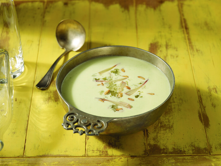 Potato and Ramp Green Soup with Candied Pine Nuts and Creme Fraiche