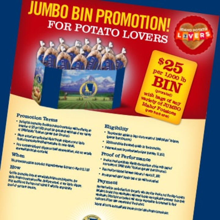 Jumbo Bin Promotion for Potato Lovers