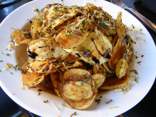 West Town Tavern Potato Chips with Parmesan, Rosemary, Balsamic Syrup and White Truffle Oil
