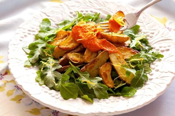 Romesco Fingerling Potato Salad on Bed of Greens
