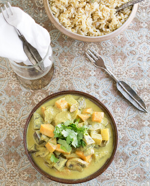 Creamy Mushroom Curry with Brown Basmati Rice Pilaf