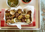 Schmaltz-Roasted Idaho® Potatoes with Grilled Onions and Salsa Verde