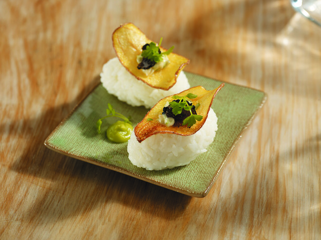 La Ratte Potato Chip on Sushi