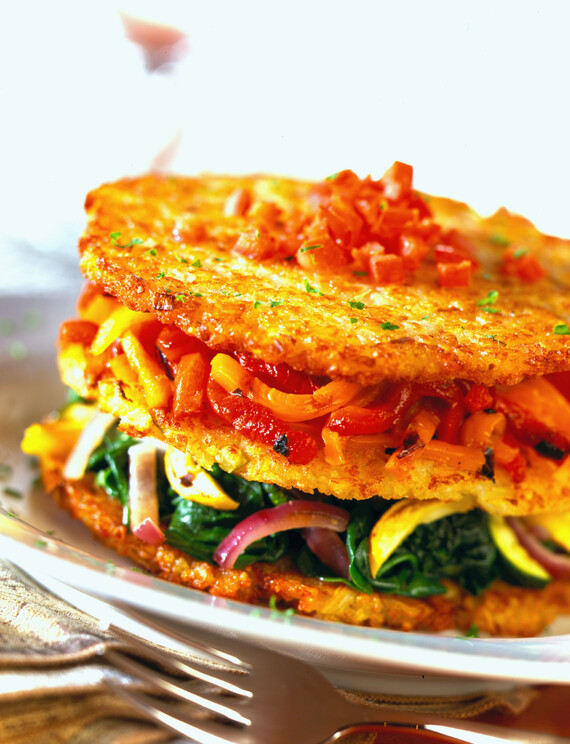 Idaho® Potato Napoleon with Grilled Vegetables