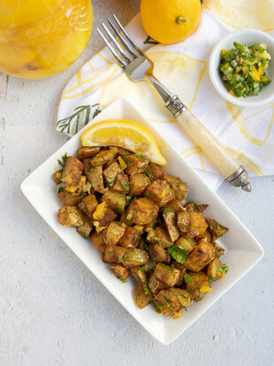 Harissa Roasted Potatoes with Preserved Lemon Gremolata