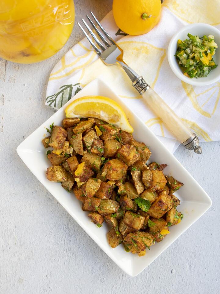 Harissa Roasted Potatoes with Preserved Lemon Gremolata