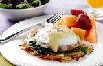 Hash Brown Benedict with Sautéed Spinach & Prosciutto