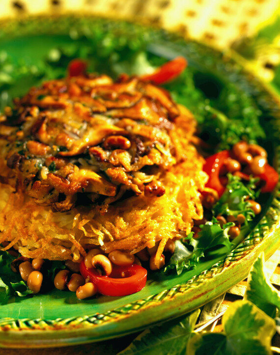 Shiitake Mushroom Burger with Black-Eyed Pea and Roasted Pepper Salad and Crispy Potato Cakes