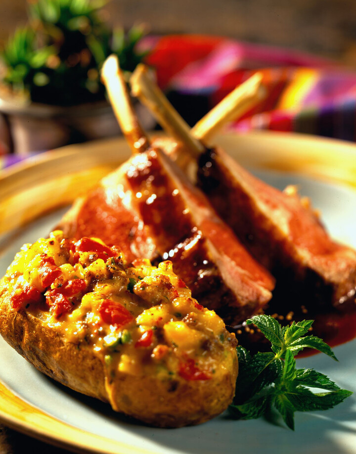 Balsamic Glazed Rack of Lamb - Plum Ketchup Chili Cheese Baked Potato