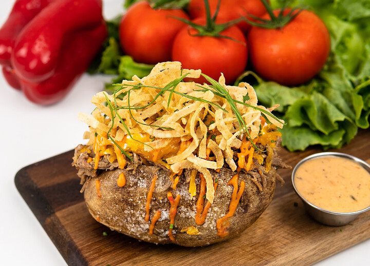 Stuffed Idaho® Potato with Smoked Brisket and Litehouse® BBQ Ranch