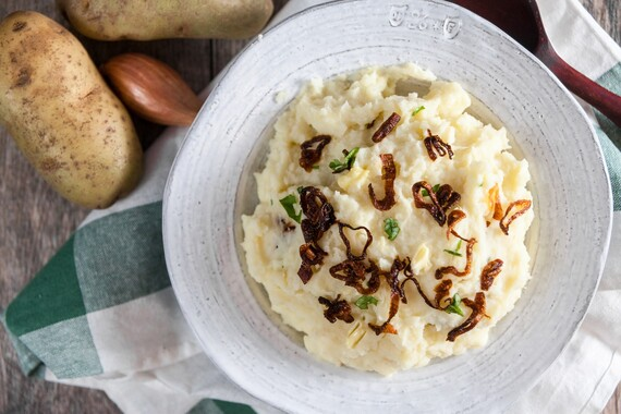 Horseradish Mashed Idaho® Potatoes with Crispy Shallots
