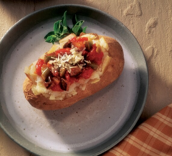 Baked Potato with Eggplant Parmigiana Topping