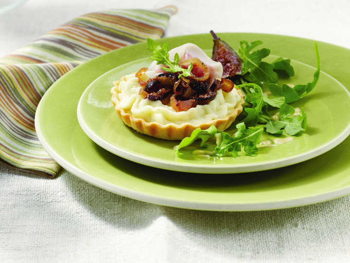 Warm Potato Tart with Arugula, Figs, Prosciutto and Truffle Vinaigrette