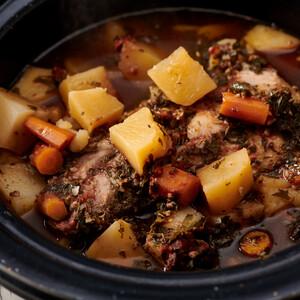 Slow Cooker Pork Roast and Potatoes for Idaho® Potatoes