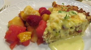 Potato Crusted Quiche with Ham, Leeks, Potatoes and Fontina Cheese