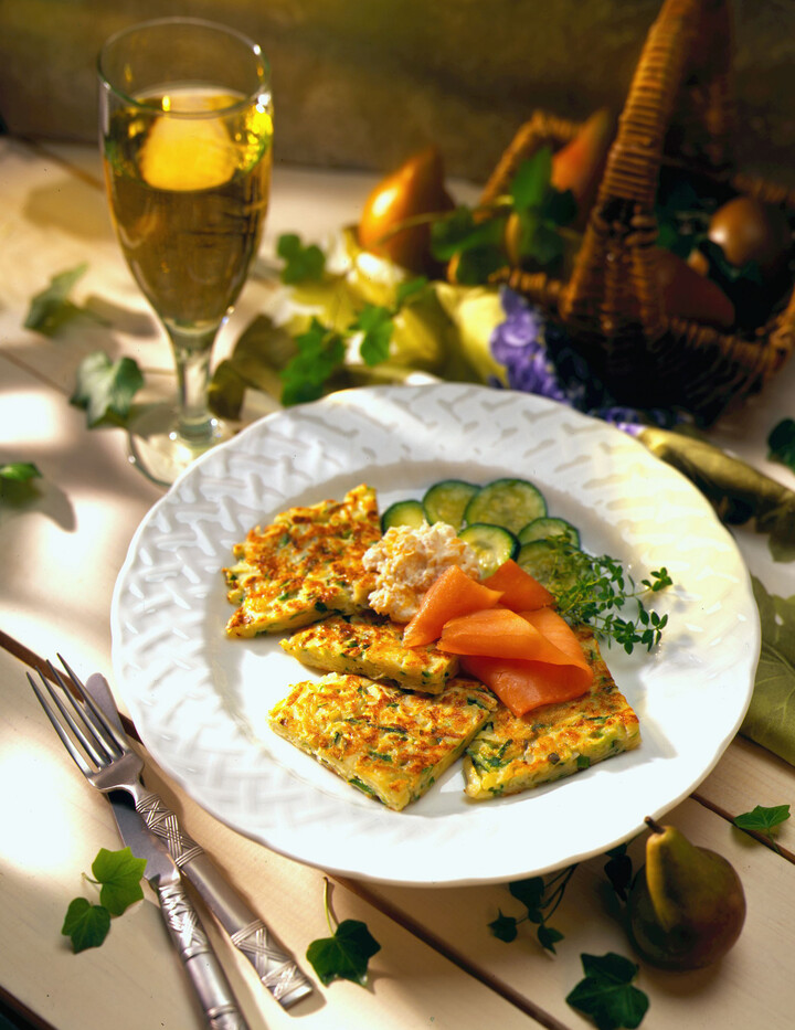 Grated Zucchini - Idaho® Potato Pancakes with Smoked Salmon and Apricot - Horseradish Sauce