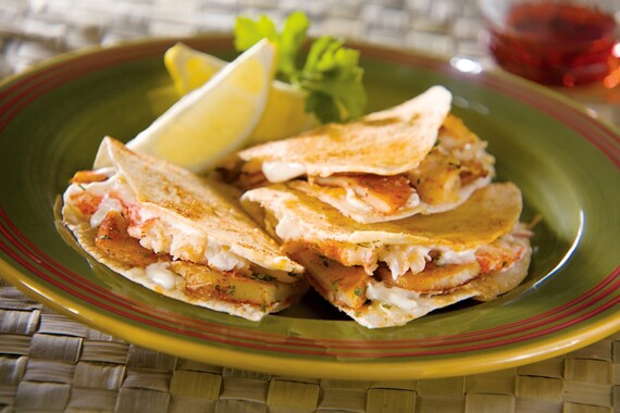 Idaho Yellow Finn and Lobster Quesadillas with Hot Smoked Paprika and Manchego