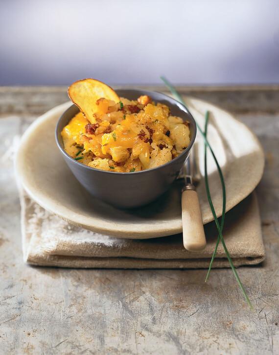 Smashed Idaho® Potatoes with Chorizo