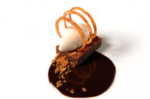 Grilled Idaho® Potato Ice Cream, Milk Chocolate Cake, Bacon Toffee