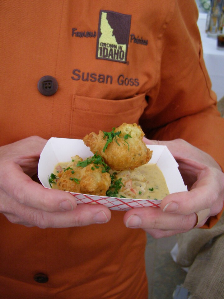 Crispy Idaho® Potato Beignets with Creole Barbecued Shrimp