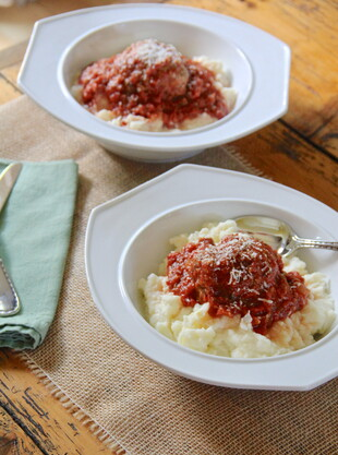 Big Easy Meatballs & Red Gravy over Creamy Idaho® Mashed Potatoes