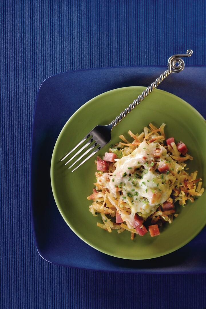 Hash Brown Casserole With Ham, Leeks, Pepper Jack Cheese