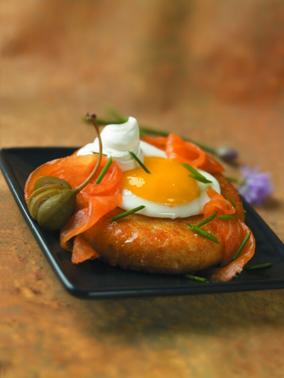 Idaho® Potato and Eggs with Smoked Salmon, Crème Fraiche and Chives