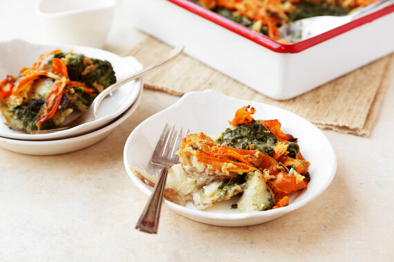 Idahoan® Steakhouse Scalloped Potatoes with Spinach and Carrots