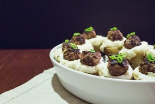 Twice Baked Idaho® Potatoes with Swedish Meatballs