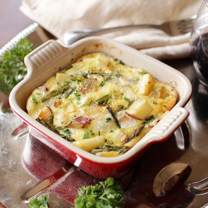 Roasted Idaho® Potato, Asparagus and Fontina Crustless Quiche For One