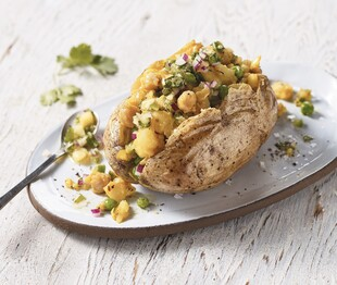 Samosa-Stuffed Idaho® Potatoes with Cilantro Chutney