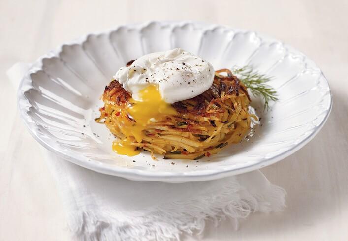 Idaho® Potato Pancake with Neonata, Topped with Poached Egg