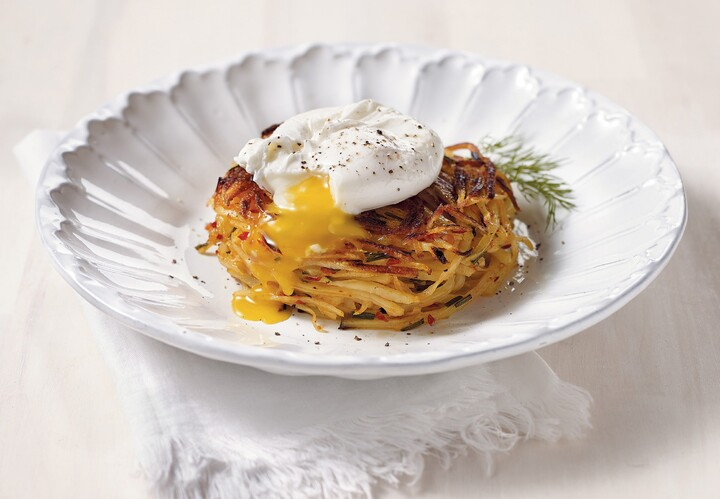Idaho® Potato Pancake with Neonata, Topped with Poached Egg