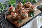 Idaho® Fingerlings with Whipped Goat Cheese and Crisp Pancetta